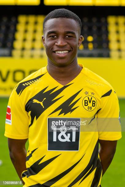 Youssoufa Moukoko of Borussia Dortmund poses during a team presentation on August 04, 2020 in Dortmund, Germany.