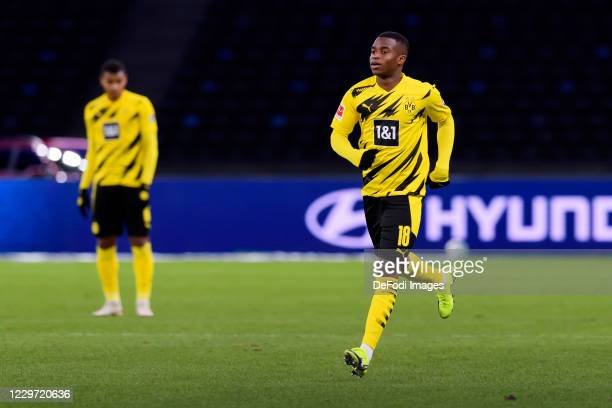 Youssoufa Moukoko of Borussia Dortmund substitutes during the Bundesliga match between Hertha BSC and Borussia Dortmund at Olympiastadion on November...