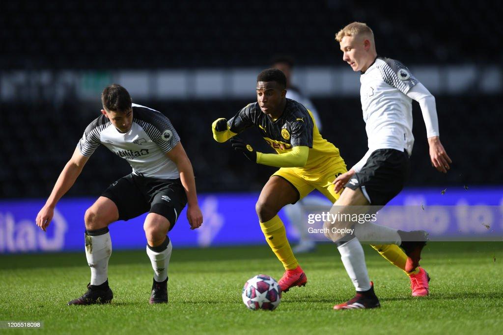Derby U19 v Borussia Dortmund U19 - UEFA Youth League Play-Offs : News Photo