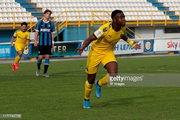 Youssoufa Moukoko of Borussia Dortmund U19 celebrates after scoring his team's first goal during the UEFA Youth League match between Inter Mailand...