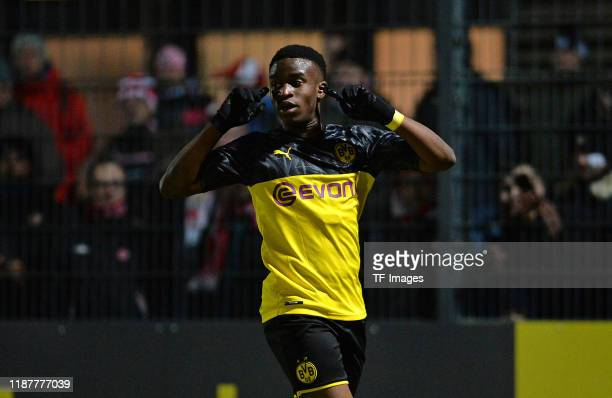 Youssoufa Moukoko of Borussia Dortmund U19 celebrates after scoring his teams fifth goal during the UEFA Youth League match between Borussia Dortmund...