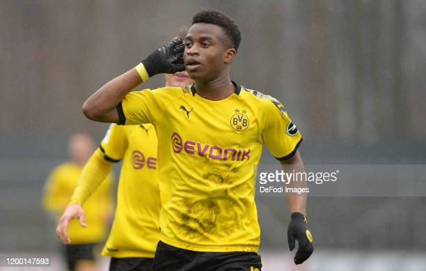 Youssoufa Moukoko of Borussia Dortmund U19 celebrates after scoring his teams second goal during the U19 Bundesliga match between 1. FC Koeln U19 and...