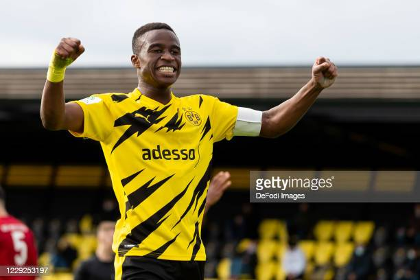 Youssoufa Moukoko of Borussia Dortmund U19 celebrates after scoring his team's fourth goal during the Junior Bundesliga West match between Borussia...