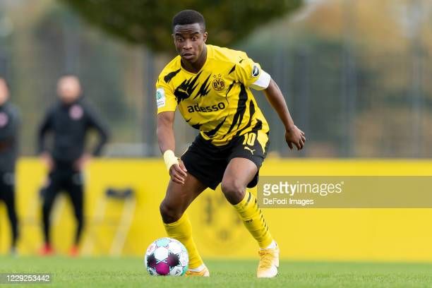 Youssoufa Moukoko of Borussia Dortmund U19 controls the ball during the Junior Bundesliga West match between Borussia Dortmund and Rot-Weiss Essen on...