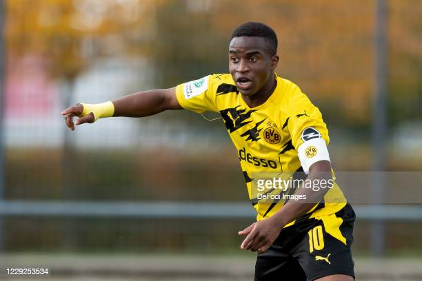Youssoufa Moukoko of Borussia Dortmund U19 gestures during the Junior Bundesliga West match between Borussia Dortmund and Rot-Weiss Essen on October...