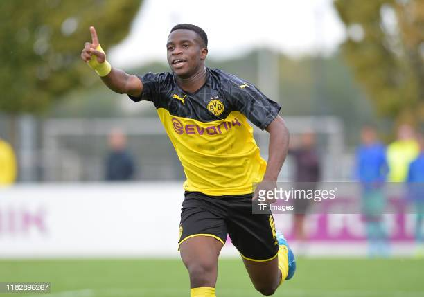 Youssoufa Moukoko of Borussia Dortmund U19 gestures during the UEFA Youth League match between Borussia Dortmund U19 and FC Barcelona U19 on...
