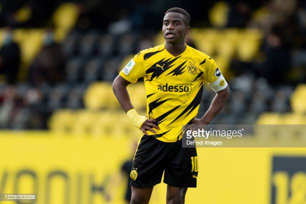 Youssoufa Moukoko of Borussia Dortmund U19 looks on during the Junior Bundesliga West match between Borussia Dortmund and Rot-Weiss Essen on October...