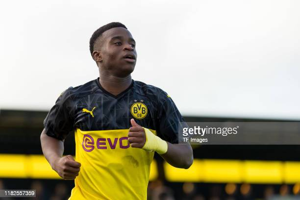 Youssoufa Moukoko of Borussia Dortmund U19 looks on during the UEFA Youth League match between Borussia Dortmund U19 and Inter Mailand U19 on...