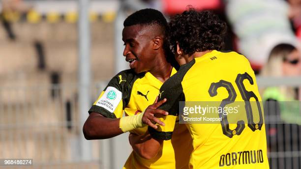 Youssoufa Moukoko of Dortmund celebrates the first goal During the B Juniors German Championship Semi Final first leg match match between Bayer...