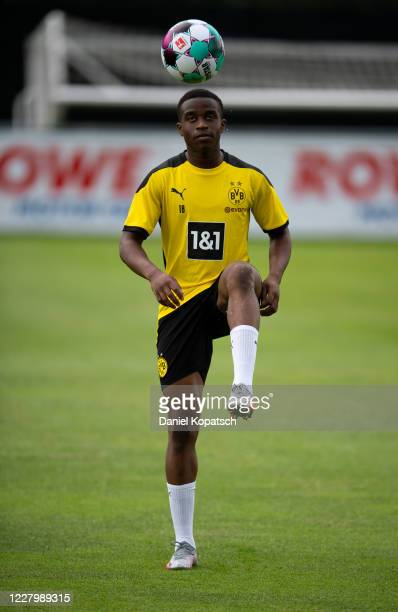 Youssoufa Moukoko of Dortmund controls the ball during day 1 of the pre-season summer training camp of Borussia Dortmund on August 10, 2020 in Bad...