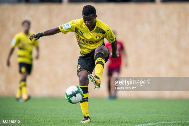 Youssoufa Moukoko of Dortmund in action during the B Juniors Bundesliga match between Borussia Dortmund and FC Viktoria Koeln on August 19, 2017 in...