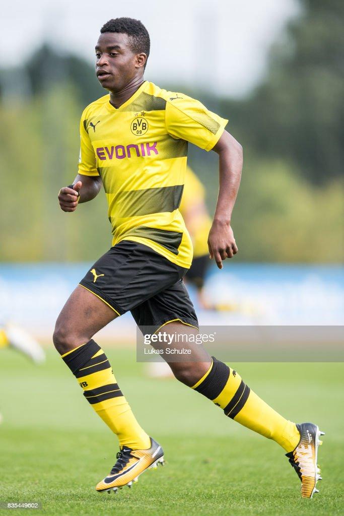 Youssoufa Moukoko of Dortmund in action during the B Juniors Bundesliga match between Borussia Dortmund and FC Viktoria Koeln on August 19, 2017 in Dortmund, Germany.