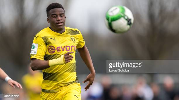 Youssoufa Moukoko of Dortmund in action during the B Juniors Bundesliga match between Borussia Dortmund and FC Schalke 04 on April 8, 2018 in...