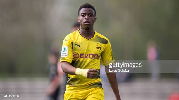 Youssoufa Moukoko of Dortmund looks up during the B Juniors Bundesliga West match between Bayer Leverkusen and Borussia Dortmund on April 14, 2018 in...