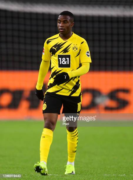 Youssoufa Moukoko of Dortmund reacts during the Bundesliga match between Hertha BSC and Borussia Dortmund at Olympiastadion on November 21, 2020 in...