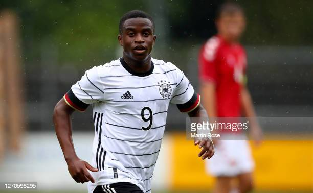 Youssoufa Moukoko of Germany gestures during the international friendly match between Germany U20 and Denmark U20 at Edmund-Plambeck-Stadion on...