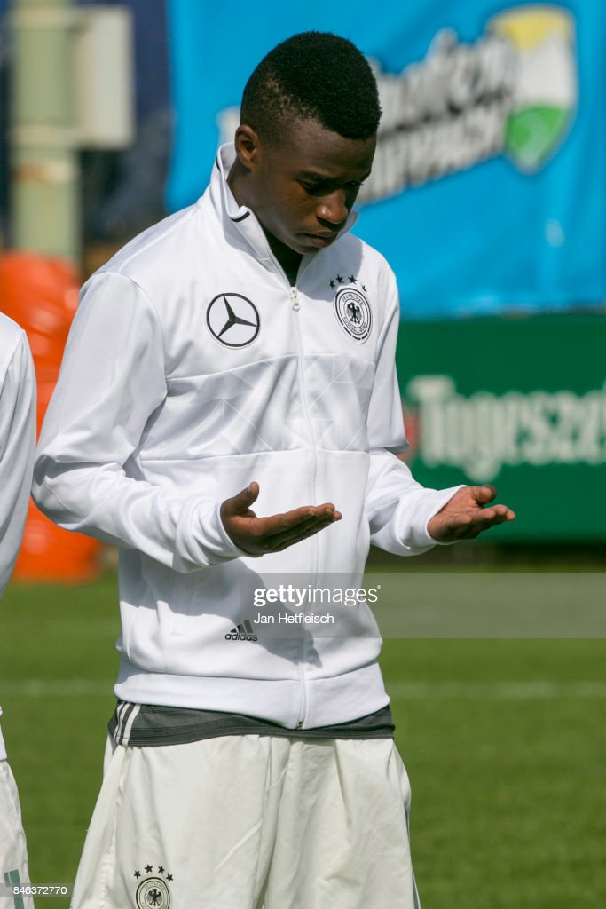 Youssoufa Moukoko of Germany gestures during the International Friendly match between U16 Germany and U16 Austria on September 13, 2017 in Zell am Ziller, Austria.