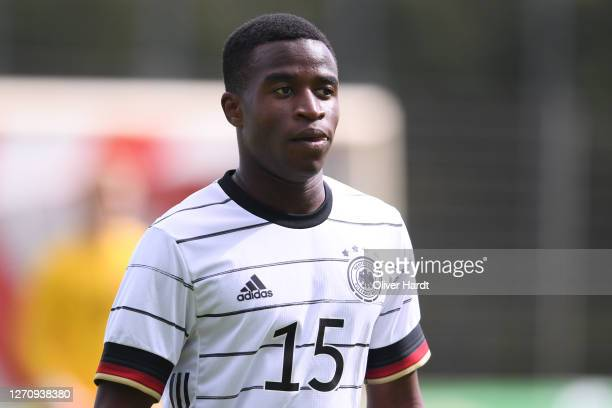 Youssoufa Moukoko of Germany looks dejected during the international friendly match between Germany U20 and Denmark U20 at Ernst-Wagener-Stadion on...