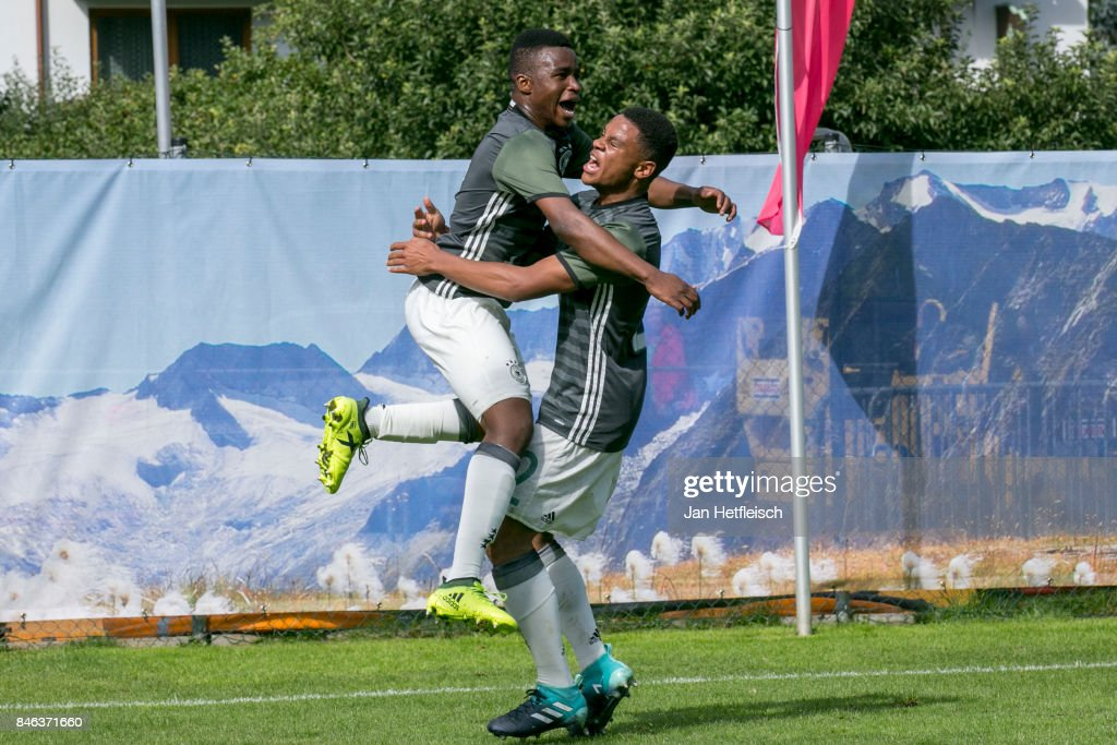 Youssoufa Moukoko of Germany reacts after scoring a goal during the International Friendly match between U16 Germany and U16 Austria on September 13, 2017 in Zell am Ziller, Austria.