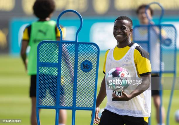Youssoufa Moukoko smiles during the first training session of Borussia Dortmund after the summer break on August 03, 2020 in Dortmund, Germany.