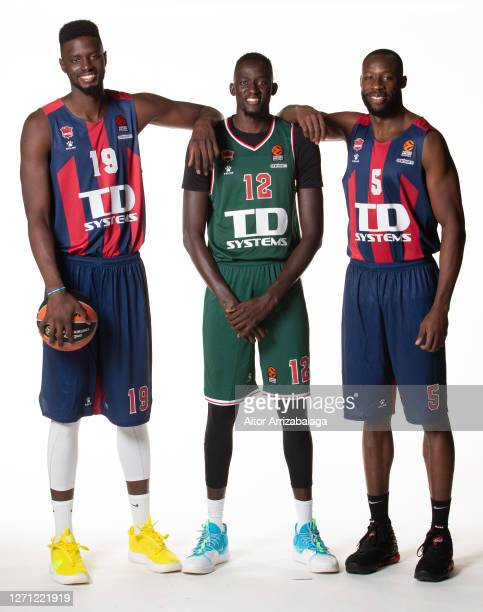 Youssoupha Fall #19 Ilimane Diop #12 of and Tonye Jekiri #5 poses during the TD Systems Baskonia Vitoria Gasteiz 2020/2021 Turkish Airlines...