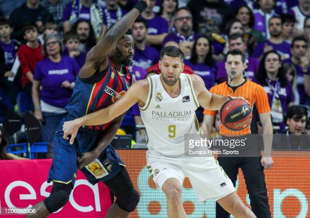Youssoupha Fall of Baskonia and Felipe Reyes Cabanas of Real Madrid in action during the Spanish League, Liga Endesa, basketball match, Regular...