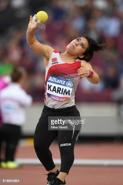Youssra Karim of Morocco competes in the Women's Shot Put F41 Final during Day Six of the IPC World ParaAthletics Championships 2017 London at London...