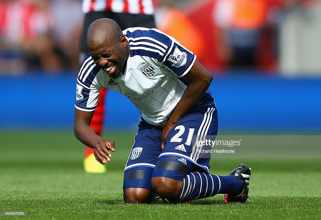 Youssuf Mulumbu of West Brom grimaces during the Barclays Premier League match between Southampton and West Bromwich Albion at St Mary's Stadium on August 23, 2014 in Southampton, England.