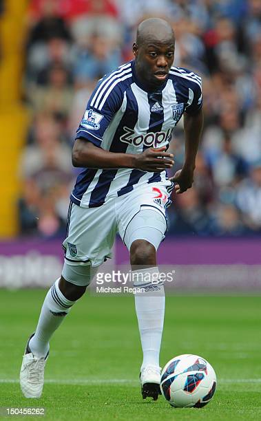 Youssuf Mulumbu of West Brom in action during the Barclays Premier League match between West Bromwich Albion and Liverpool at The Hawthorns on August...