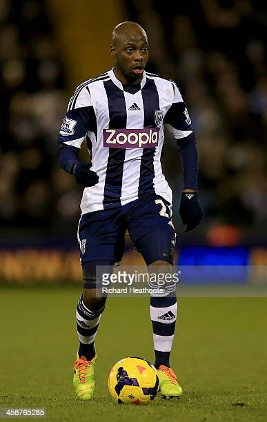 Youssuf Mulumbu of West Brom in action during the Barclays Premier League match between West Bromwich Albion and Hull City at The Hawthorns on...