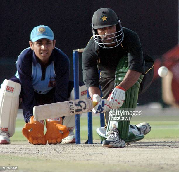 Yousuf Youhana of Pakistan Masters XI sweeps the ball during his knock of 50 against Indian Masters XI on the final day of Tri Nation Tsunami Relief...