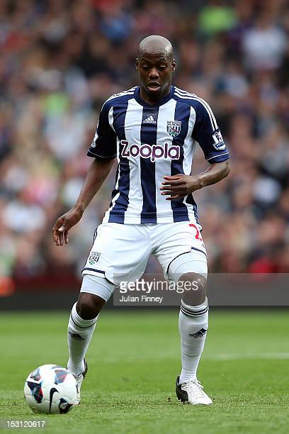 Yousuff Mulumbu of West Bromwich Albion in action during the Barclays Premier League match between Aston Villa and West Bromwich Albion at Villa Park...
