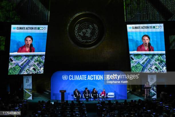 Youth activist Greta Thunberg speaks at the Climate Action Summit at the United Nations on September 23 2019 in New York City While the United States...