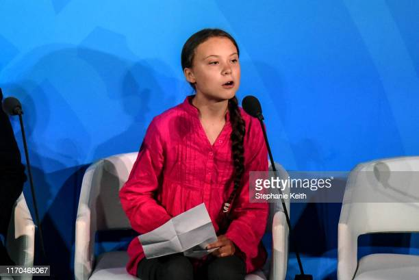 Youth activist Greta Thunberg speaks at the Climate Action Summit at the United Nations on September 23, 2019 in New York City. While the United...
