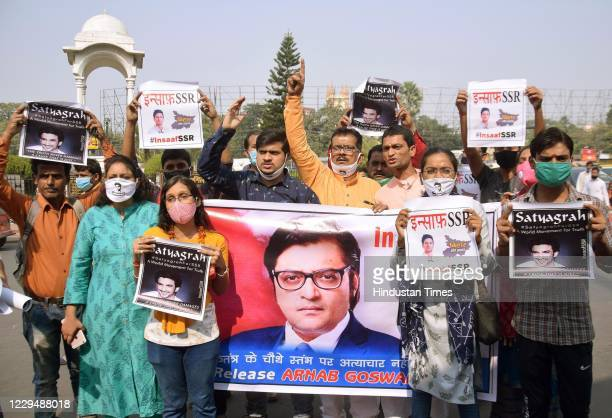 Youth and social activists demonstrate at Kargil Chowk against the Maharashtra Government after Republic TV EditorInChief Arnab Goswami was arrested...