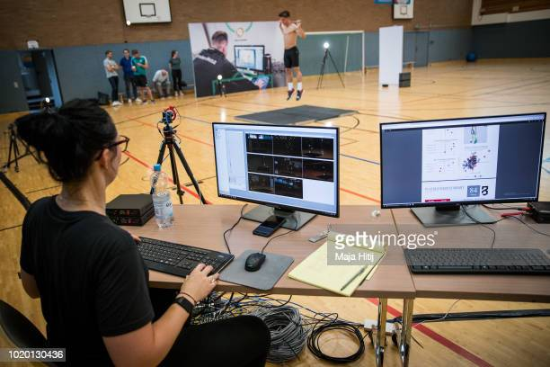 Youth athlete of U16 national team jumps during performance diagnostic of P3 Motion Capturing organised by German Football Association DFB academy in...