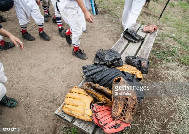 Youth Baseball , Glove on the banch