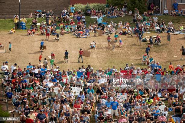 Little League World Series Fans and kids sliding down Lamade hill using flattened cardboard during Championship Game between USA Southwest Region vs...