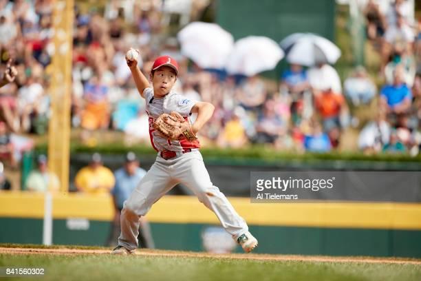 Little League World Series Japan Region Rei Ichisawa in action vs USA Southwest Region during Championship Game at Howard J Lamade Stadium South...