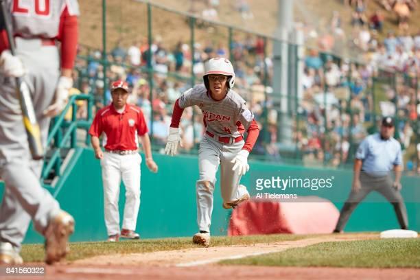 Little League World Series Japan Region Ryusei Fujiwara in action scoring vs USA Southwest Region during Championship Game at Howard J Lamade Stadium...