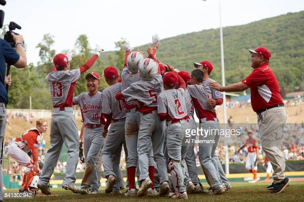 Little League World Series Japan Region team victorious after defeating USA Southwest Region during Championship Game at Howard J Lamade Stadium...