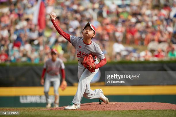 Little League World Series Japan Region Tsubasa Tomii in action pitching vs USA Southwest Region during Championship Game at Howard J Lamade Stadium...