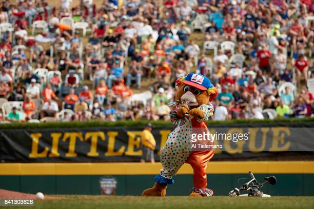 Little League World Series LLWS mascot Dugout cycling around the bases during Championship Game between USA Southwest Region vs Japan Region at...