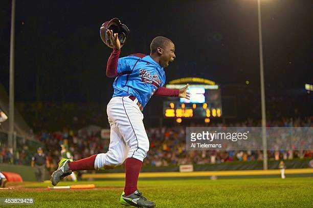 Little League World Series MidAtlantic Region Team Zion Spearman of Taney Youth Association from Philadelphia victorious after scoring gamewinning...