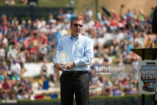 Little League World Series President and CEO of Little League International Steve Keener with trophy before Championship Game between Japan Region...