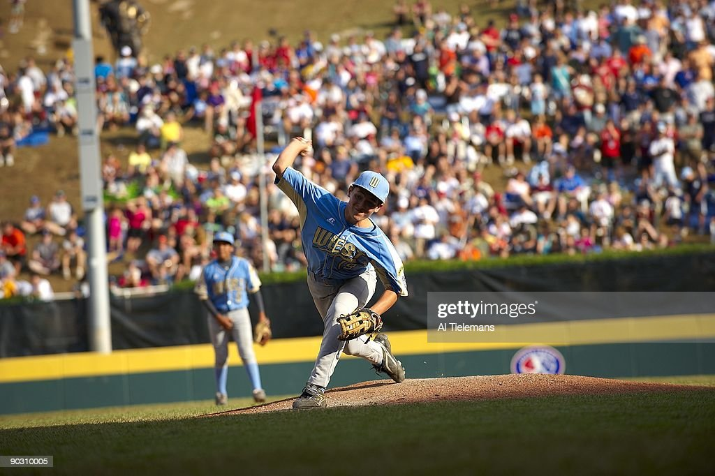 US Team West (Parkview LL of Chula Vista, CA) Kiko Garcia (19) and Luke Ramirez (27) in action, pitching vs Asia Pacific (Kuei-Shan LL of Taoyuan, Chinese Taipei) during Championship Game at Howard J. Lamade Stadium. Williamsport, PA 8/30/2009