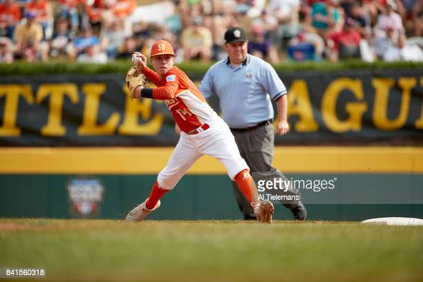 Little League World Series USA Southwest Region Blake Slaga in action vs Japan Region during Championship Game at Howard J Lamade Stadium South...