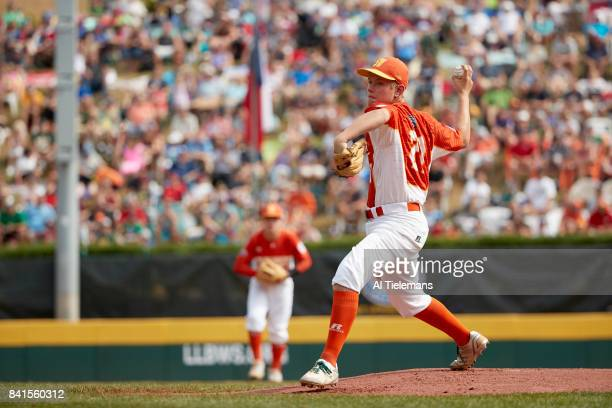 Little League World Series USA Southwest Region Chip Buchanan in action pitching vs Japan Region during Championship Game at Howard J Lamade Stadium...