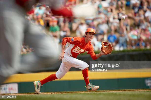 Little League World Series USA Southwest Region Collin Ross in action vs Japan Region during Championship Game at Howard J Lamade Stadium South...