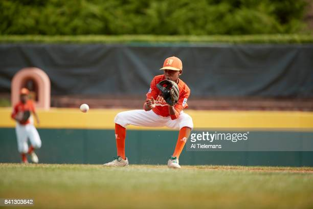 Little League World Series USA Southwest Region Malcolm Deason in action vs Japan Region during Championship Game at Howard J Lamade Stadium South...
